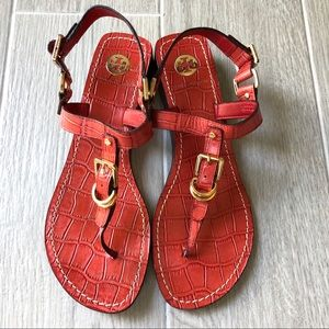 Tory Burch Trent red croc print thong sandals